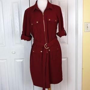 Sharagano burgundy zip up dress